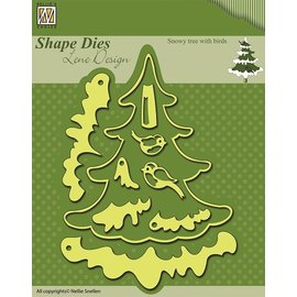 Nellie Snellen Stanzschablonen: Weihnachtsbaum mit Schnee