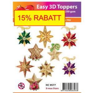 Bilder, 3D Bilder und ausgestanzte Teile usw... Weihnachtsaktion! 10 3D Weihnachtssternen mit Glitter!
