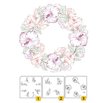 Nellie Snellen Transparent / Clear Stamping: Layered stamp with positional edge Wreath