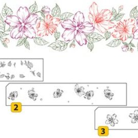 Nellie Snellen Gennemsigtig / Clear Stamp: lags stempel med positionel grænse med blomster