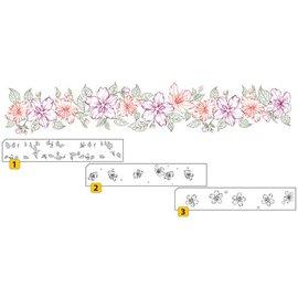 Nellie Snellen Transparentes / Borrar sello: Sello con capas de frontera posicional con flores