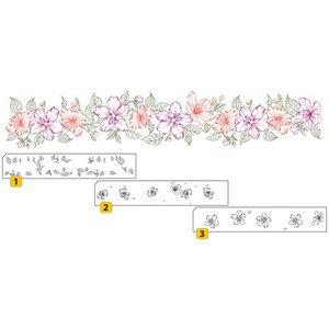 Nellie Snellen Transparant / Clear Stamp: Gelaagde stempel met positionele grens met bloemen