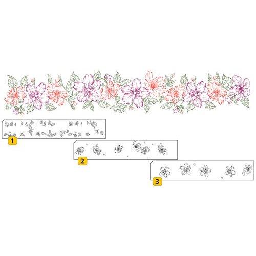 Nellie Snellen Transparent / Clear Stempel: Layered stamp with position Bordüre mit Blumen