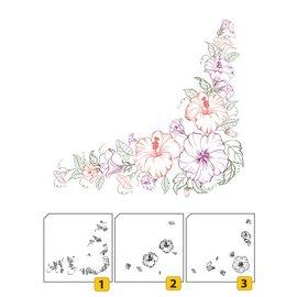 Nellie Snellen Transparentes / Borrar sello: Sello con capas de esquina posicional con flores