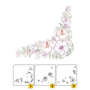 Nellie Snellen Transparent / Clair: Timbre en couches avec coin de position avec des fleurs