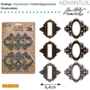 Embellishments / Verzierungen Frames en sluizen, 6 stuks, antiek - terug in voorraad!