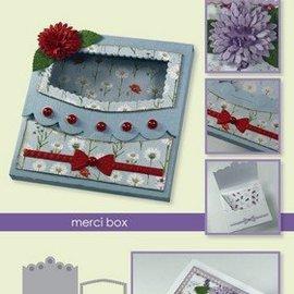 Crealies und CraftEmotions Modèle de poinçonnage: Boîte avec fenêtre