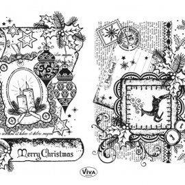 Stempel / Stamp: Transparent sello transparente: Decoración de desplazamiento, Feliz Navidad