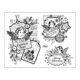 Stempel / Stamp: Transparent sellos transparentes: Ángel de Navidad