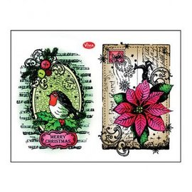 Stempel / Stamp: Transparent Stamp trasparente: Robins + poinsettia