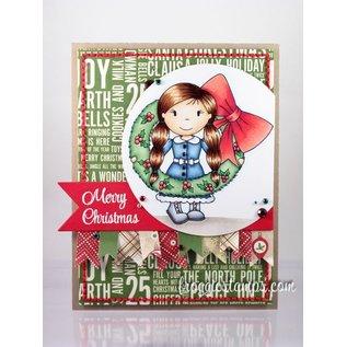 STEMPEL / STAMP: GUMMI / RUBBER Rubber zegel: Meisje met kroon van Kerstmis