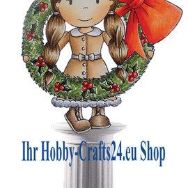 STEMPEL / STAMP: GUMMI / RUBBER timbre en caoutchouc: Fille avec couronne de Noël
