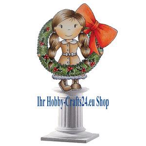 STEMPEL / STAMP: GUMMI / RUBBER Gummi stempel: Pige med julen krans