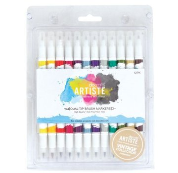 FARBE / STEMPELKISSEN Artiste Permanent Dual Tip Pinselmarker, Farbe Vintage Collection
