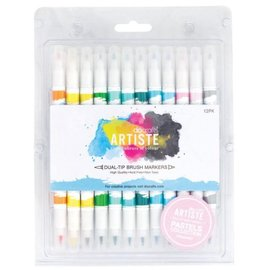 FARBE / STEMPELKISSEN Artiste Permanent Dual Tip Pinselmarker, Farbe Pastels Collection