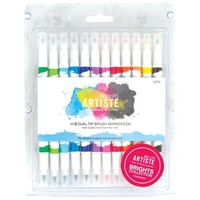 Artiste Permanent Dual Tip Brush Marker, Color Brights Collection