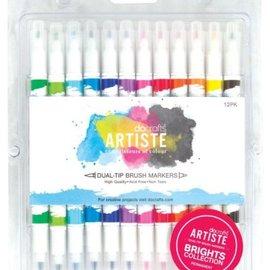 FARBE / STEMPELKISSEN Artiste permanente pennello doppio Tip Marker, collezione di colori Brights