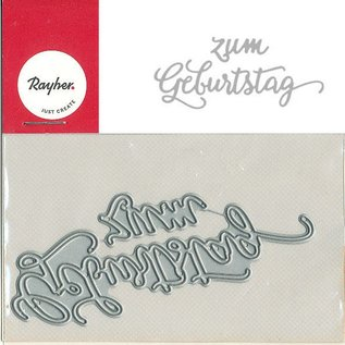 Spellbinders und Rayher Cutting en embossing stencils, Duitse tekst: Gelukkige verjaardag