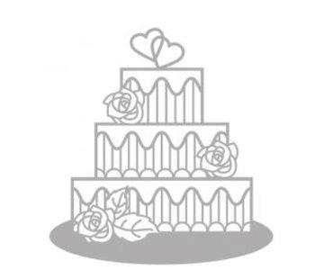 Spellbinders und Rayher Cutting en embossing stencils, Delicate Cake, bruidstaart