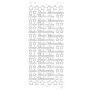 Sticker Stickers, Duitse tekst: Merry Christmas in Platinum - Zilver