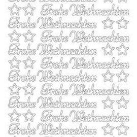 Sticker Sticker, deutsche Text: Frohe Weihnachten in Platinum - Silber