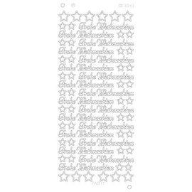 STICKER / AUTOCOLLANT Pegatinas, texto alemán: Feliz Navidad en Platino - plata