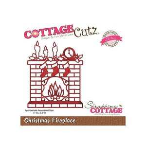 Cottage Cutz Snij en embossing Sjabloon: Christmas Fireplace