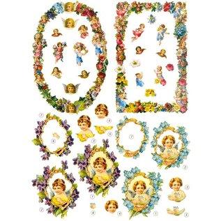 Bilder, 3D Bilder und ausgestanzte Teile usw... Stanzbogen: Engel und Zierrahmen