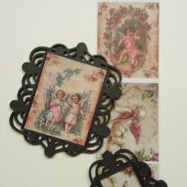 Embellishments / Verzierungen Nyt: 2 Mix Media plast filigran dekorative rammer (frames), Sort, ca 6,0 x 6,5 cm og 6,0 x 4,5 cm