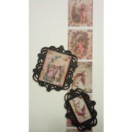 Embellishments / Verzierungen Nouveau: 2 Media Mix plastique filigranés cadres décoratifs (cadres), noir, environ 6,0 x 6,5 cm et 6,0 x 4,5 cm