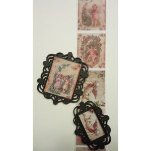 Embellishments / Verzierungen Nieuw: 2 Mix Media plastic filigraan decoratieve kaders (frames), Zwart, ongeveer 6,0 x 6,5 cm en 6,0 x 4,5 cm