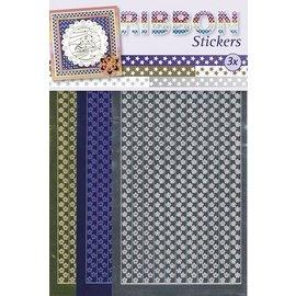 STICKER / AUTOCOLLANT Ribbon Stickers stjerner i guld, sølv og blå.