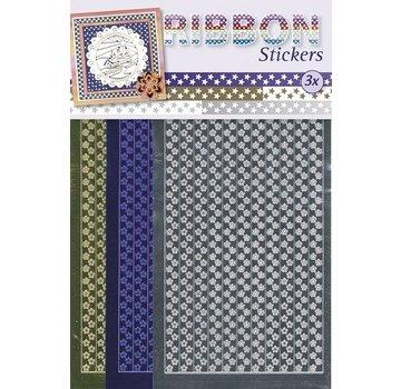 Sticker Ribbon Stickers stjerner i guld, sølv og blå.