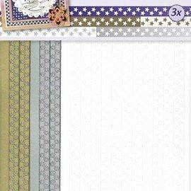 Sticker Cinta de etiquetas engomadas de las estrellas en oro, plata y blanco