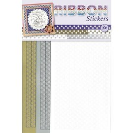 STICKER / AUTOCOLLANT Ribbon Stickers stars in gold, silver and white