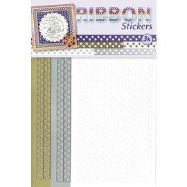 STICKER / AUTOCOLLANT Ribbon Stickers stjerner i guld, sølv og hvid