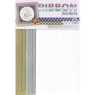 STICKER / AUTOCOLLANT Lint Stickers sterren in goud, zilver en wit