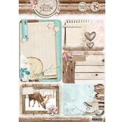 Studio Light Die cut ark A4: Søde vintersæsonen, med 5 forskårne baggrund kort / etiketter, 170 grs
