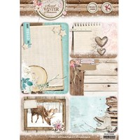 Die cut, A4: Sweet Winter Season, with 5 prepunched background cards / labels, 170 grs