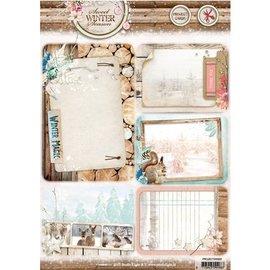 Studio Light Die corte de la hoja A4: la temporada de invierno dulce, con 5 precortadas fondo tarjetas / etiquetas