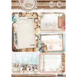 Studio Light Die cut ark A4: Søt vintersesongen, med 5 pre-cut bakgrunns kort / etiketter