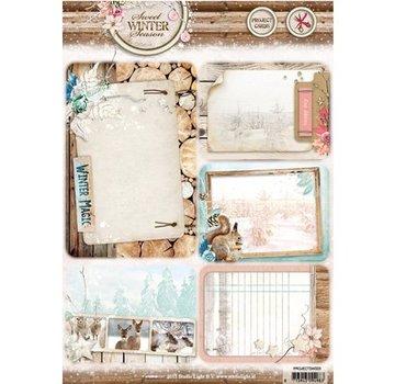 Studio Light Die cut ark A4: Søde vintersæsonen, med 5 forskårne baggrund kort / etiketter