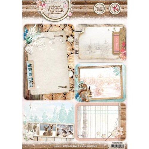 Studio Light Die losse vellen A4: Sweet winterseizoen, met 5 voorgesneden achtergrond Cards / Labels