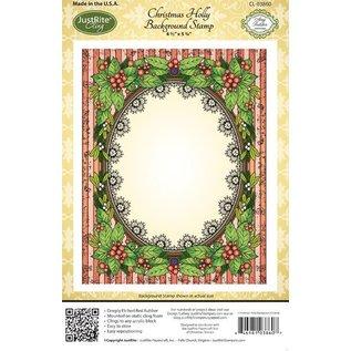 "STEMPEL / STAMP: GUMMI / RUBBER Rubberstempel: Kerst Decoratief Frame ""Holly Frame"" LIMITED!"
