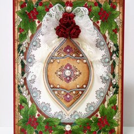"""STEMPEL / STAMP: GUMMI / RUBBER Rubber stamp: Christmas frame """"Holly Frame"""" - ONLY 1 in stock! LIMITED!"""