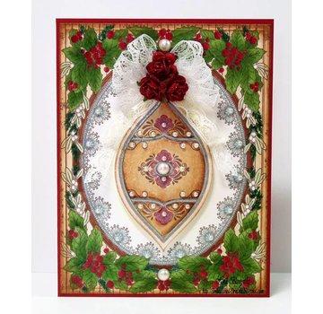 """STEMPEL / STAMP: GUMMI / RUBBER Timbro di gomma: cornice natalizia """"Holly Frame"""" - SOLO 1 in stock! LIMITATA!"""