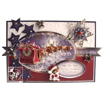 BASTELSETS / CRAFT KITS Magnificent punching set, for the design of various Christmas cards + 2 cards + adhesive pads + stickers