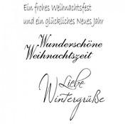 """Stempel / Stamp: Transparent Gennemsigtig / Clear Text Stempel: tysk tekst Jul """"Winter Kærlighed Greetings"""""""