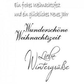 "Stempel / Stamp: Transparent Transparant / Clear Tekst Stempel: Duitse tekst Kerst ""Groeten Winter Love"""