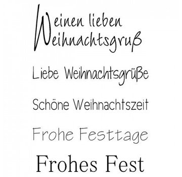 """Stempel / Stamp: Transparent Transparent / Clear text stamp: German text Christmas """"a lovely Christmas greeting"""""""